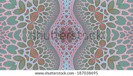 Light pink, orange, blue and green colored abstract high resolution fractal background with a detailed leafy organic looking pattern and a central rhomboid decorative pillar