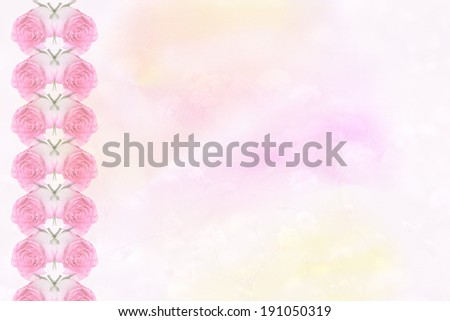 light pink pastel colored background with border of fresh rose buds and transparency - stock photo