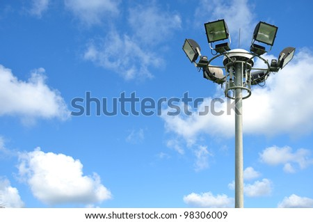 light pole on blusky - stock photo