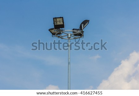 Light Pole With A Blue Sky Background