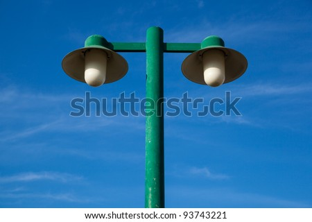 Light poles and the background is a dark sky, fresh - stock photo