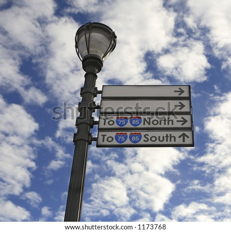 Light post with sign, room for text - stock photo