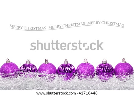 Light purple christmas baubles against white background with space for text - stock photo