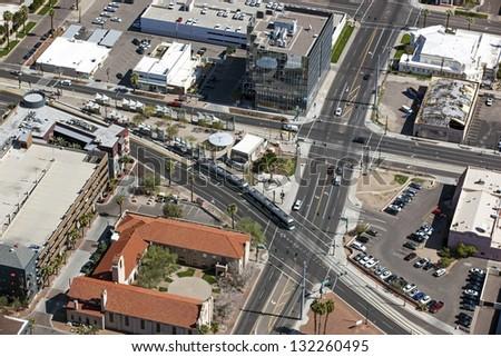 Light Rail in downtown Phoenix, Arizona - stock photo