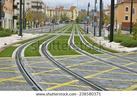 light rail routes in the city, Granada, Spain - stock photo