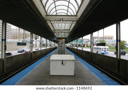 Light rail / subway station, Chicago, Illinois - stock photo