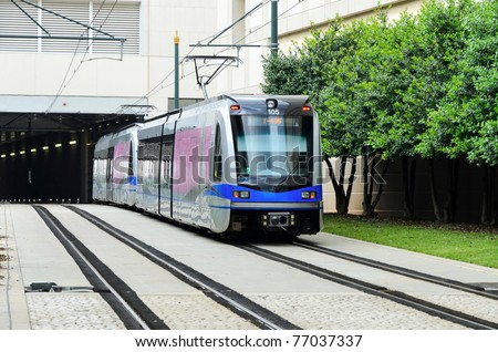Light rail system train - stock photo