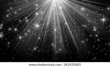 light rays and stars on black. computer generated abstract background - stock photo