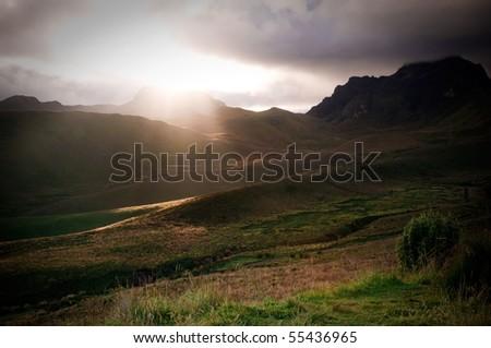 Light rays in sunset - stock photo