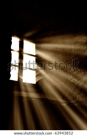light rays through the window - stock photo