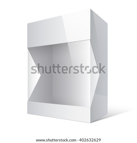 Light Realistic Open Package Cardboard Box with a transparent plastic window.  - stock photo