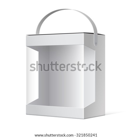 Light Realistic Package Cardboard Box with a handle and a transparent plastic window.  - stock photo