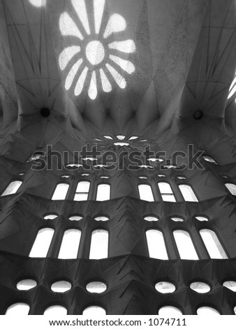 light reflection on ceiling - stock photo
