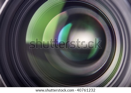light reflections in a camera lens - stock photo