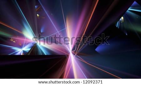 Light Refraction, 16:9 Fractal Image - stock photo