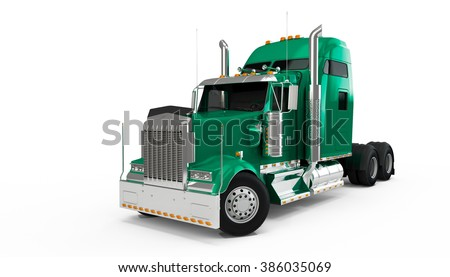 Light Sea Green american truck isolated on white background - stock photo