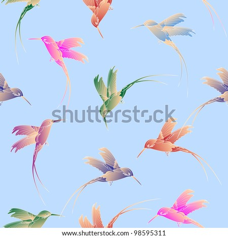 Light seamless pattern with hummingbird.Raster version - stock photo