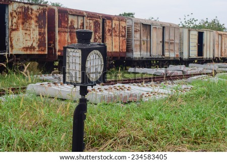 light signal for railway switch - stock photo