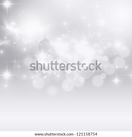 Light silver abstract Christmas background with white snowflakes