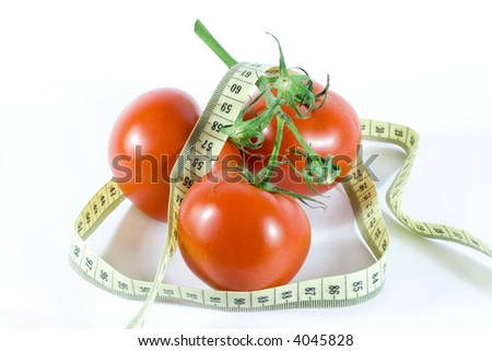 light snack on diet. fresh tomatoes isolated on white