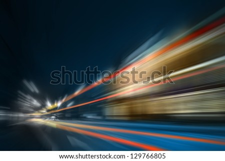 Light speeding cars - stock photo