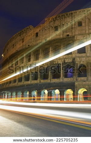 Light speeding past the Colosseum, Rome, Italy