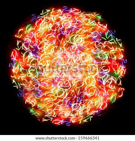 light sphere on a black background - stock photo