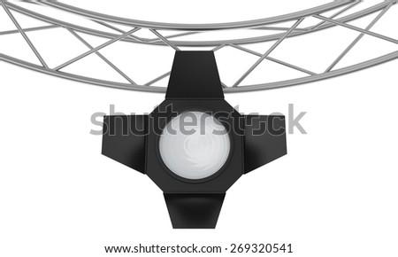 light spotlight lamp hanging on a metal frame. - stock photo