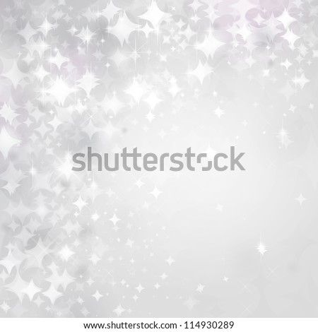 Light stars on silver background. - stock photo