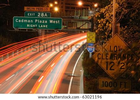 Light streaks on interstate 278 in Brooklyn New York CIty. - stock photo