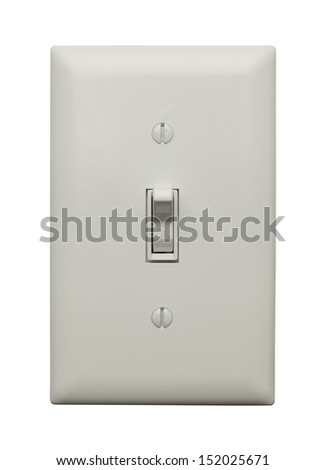 Light Switch in the On Position Isolated on White Background. - stock photo