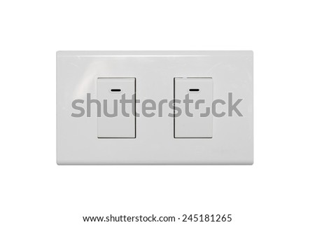 light switch isolate on over white background - stock photo