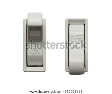 Light Switch Positions Isolated on White Background. - stock photo