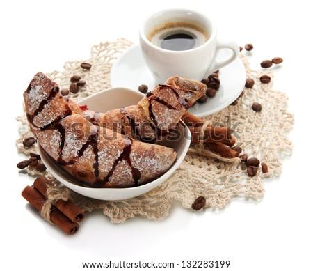 Light tasty breakfast, isolated on white - stock photo