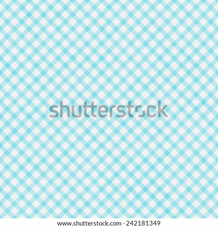 Light Teal Gingham Pattern Repeat Background that is seamless and repeats - stock photo
