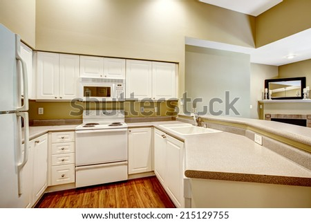 Light tones small kitchen room with white cabinets and appliances - stock photo