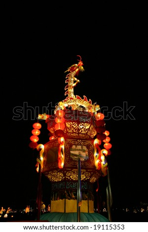 light tower in chinese lantern festival celebrating new year - stock photo