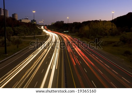 Light trail on Highway - stock photo
