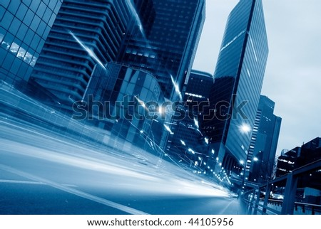 light trails from car-2 - stock photo