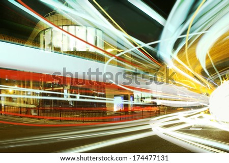 light trails in city - stock photo