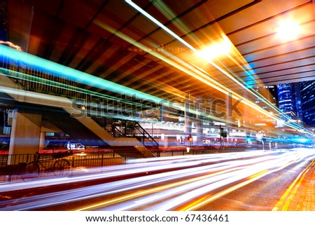 light trails in mega city - stock photo