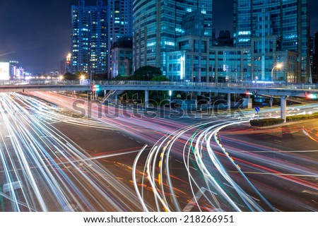 Light trails in the city - stock photo