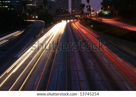 Light Trails Los Angeles Freeway at Night
