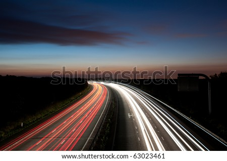 Light trails , motorway M4 to London - stock photo