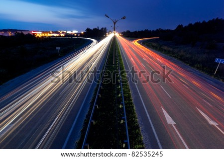 Light trails of evening highway