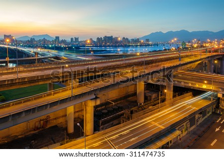 Light trails of highway in Taipei,Taiwan