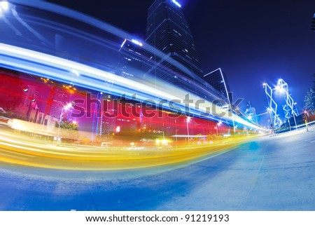 light trails on the modern city street at night