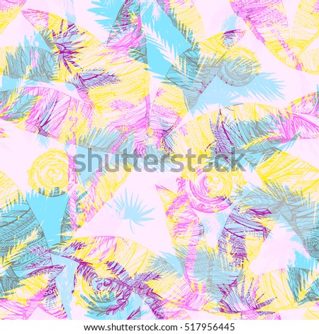 Light Tropical pattern palm leaves background overlay effect. Graphic art work for floral design.