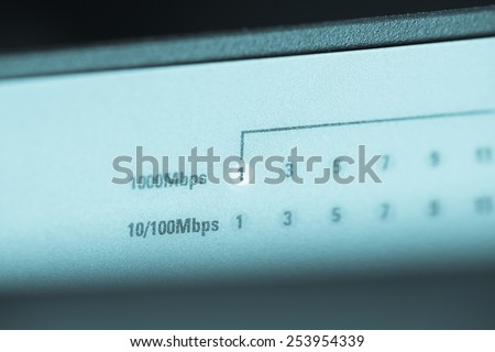 Light Turn on Server Internet Connected with LAN cables. - stock photo