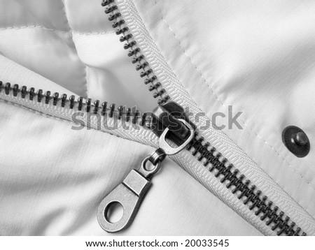 light twill jacket fragment with metal zipper - stock photo
